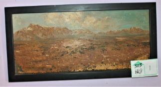 """""""TOWN IN THE FOOTHILLS"""" OIL ON WOOD"""