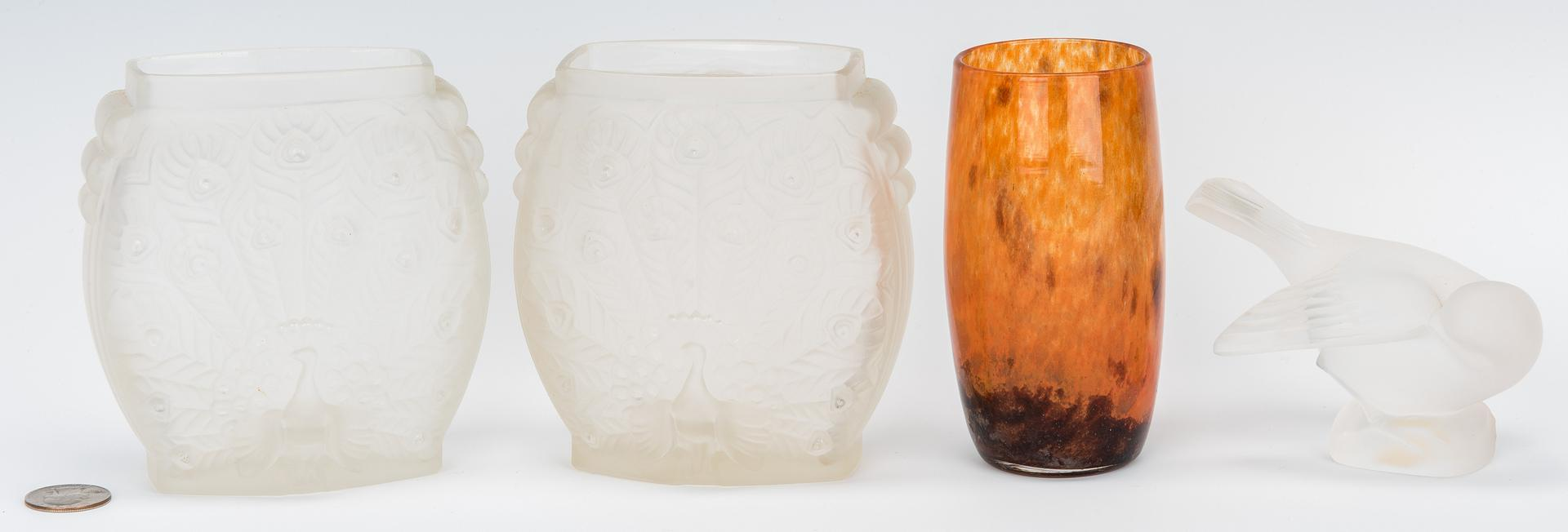 Lot 975 - Daum Art Glass Vase & 3 Frosted Glass Items, 4 items