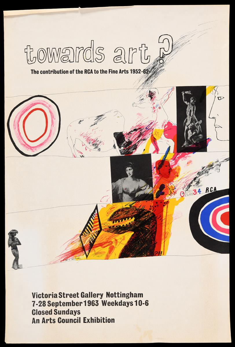 Lot 24 - An early David Hockney poster, towards art?, the contribution of the RCA to the Fine Arts 1952-62.