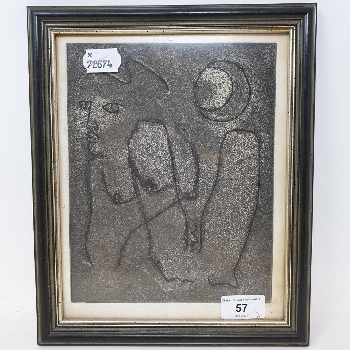 Lot 57 - P Simpson, The Return, signed and dated 1964, 14 x 11 cm, and another etching (2) Provenance: From