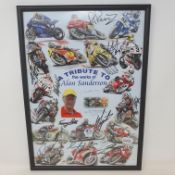 A tribute to the works of Alan Sanderson limited edition poster, featuring signatures of riders in