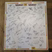 Three multiple signed display boards with various signatures from GP Moto, TT and short circuit