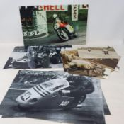 An assortment of black and white and colour photographs of John Surtees competing on both two and