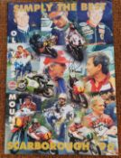 A 1996 Scarborough Oliver's Mount poster, signed by various motorcycle stars including Barry Sheene,