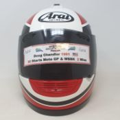 An Arai crash helmet, as worn by Doug Chandler, who competed in 68 moto GP starts and 12 WSBA races