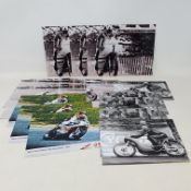 Assorted black and white photographs of racing motorcycles including Manx Norton and others (qty)