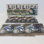 Of Bill Smith aboard various racing motorcycles, including the six cylinder Honda, all signed by