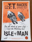 An August 2013 Classic TT Races promotional poster, with multiple participating signatures,