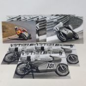Assorted black and white photographs of Bill Smith Motorcycles Ltd machines including Honda and MV