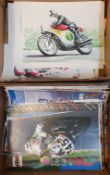 Alan Sanderson coloured print, Honda GP motorcycle at speed, and other similar Alan Sanderson