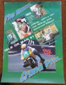 Assorted motorcycle racing posters, including the 1991 Isle of Man Manx Grand Prix, Metzeler