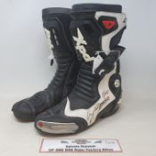 A pair of XPD motorcycle boots, as worn by Sylvain Guintoli GP, SBK, BSB competitor, signed (2)
