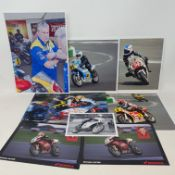 Assorted motorcycle racing colour photographs, including Valentino Rossi, Stan Woods, and others (