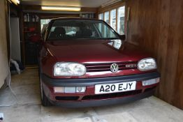 A 1996 VW Golf GTI Registration number A20 EJY Chassis number WVWZZZ1HZVW185360 Engine number