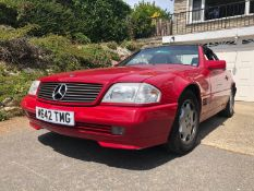 A 1995 Mercedes-Benz 280SL Registration number M642 TMG V5C MOT expires February 2021 Red with a
