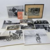 An RAC race licence, H L 'Don' Williams 1954, assorted monochrome photographs of Don racing at the