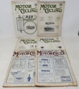 Four Motor Cycling magazines, No. 607, 616, 617 and 625 (1921), and three The Motor Cycle magazines,
