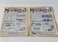 The Motor Cycle magazine, No. 901 Thursday July 1 1920, and another, No. 902 Thursday July 8 1920 (