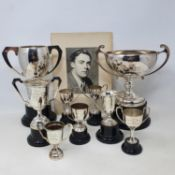 The collection of H L 'Don' Williams silver plated and pewter trophies and tankards, including The