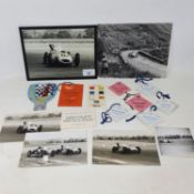 A monochrome photograph of H L 'Don' Williams in his racing car, circa 1952-55, another photo of Don