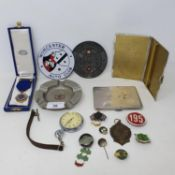 Assorted items belonging to H L 'Don' Williams, including a STEYR Motor Cycle enamel pin, with