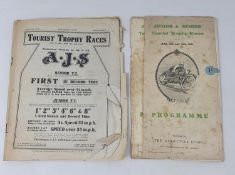 Two copies of the TT Junior & Senior Race programme June 14-16 1921, and a section of The Motor