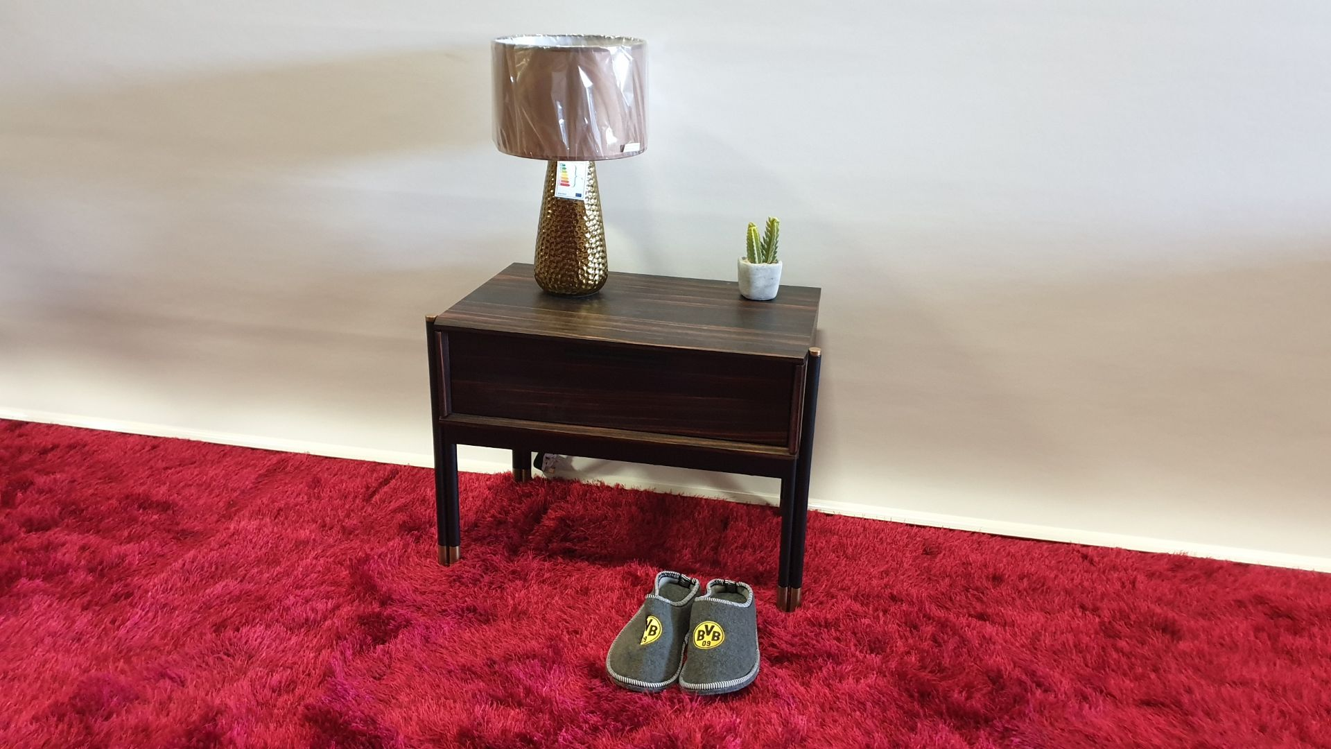 Lot 17 - BRAND NEW WOODEN AND ROSE GOLD SOFT CLOSE BED SIDE TABLE 637 X 395 X 480MM RRP £239