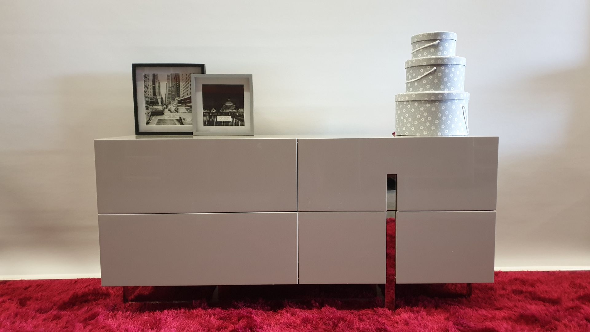 Lot 19 - BRAND NEW HIGH GLOSS AVORIO MDF 4 LARGE SOFT CLOSE DRAWER SIDE UNIT 1600 X 456 X 750MM RRP £549