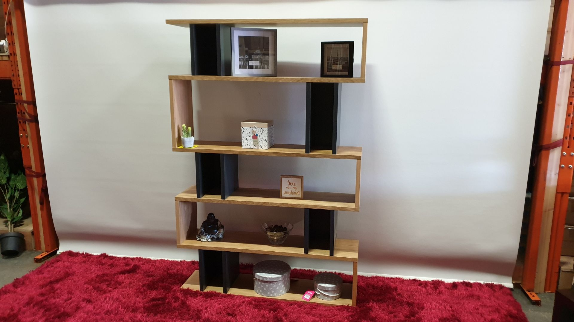 Lot 255 - BRAND NEW CONTENT BY TERRANCE CONRAN BALANCE TALL SHELVING COLOUR OAK / CHARCOAL SIZE H1800 X