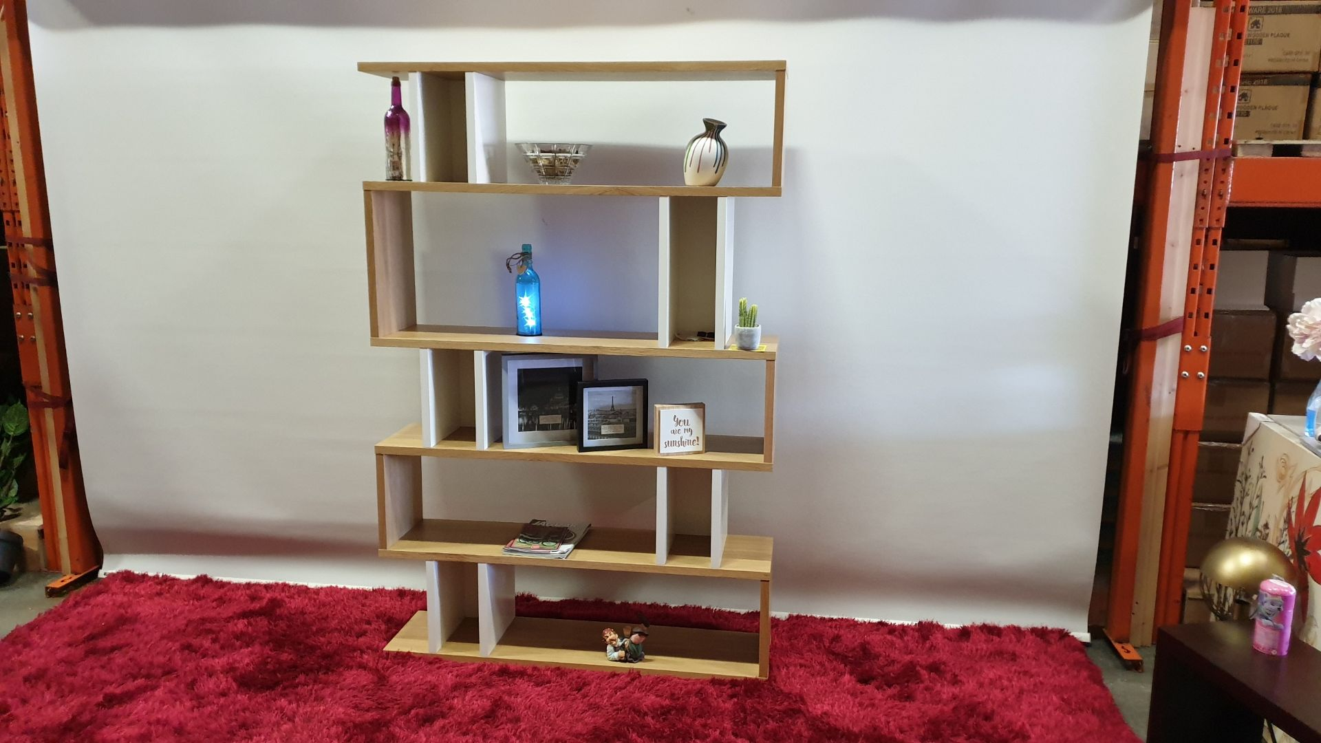 Lot 230 - BRAND NEW CONTENT BY TERRANCE CONRAN COUNTER BALANCE TALL SHELVING COLOUR OAK / WHITE SIZE H1800 X