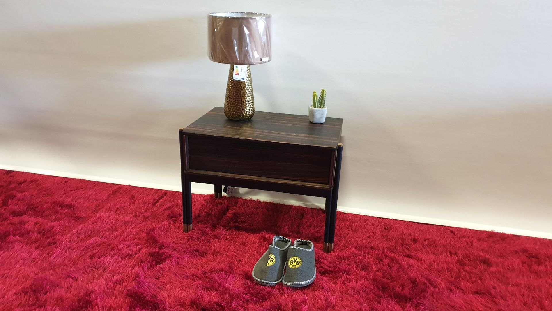 Lot 18 - BRAND NEW WOODEN AND ROSE GOLD SOFT CLOSE BED SIDE TABLE 637 X 395 X 480MM RRP £239
