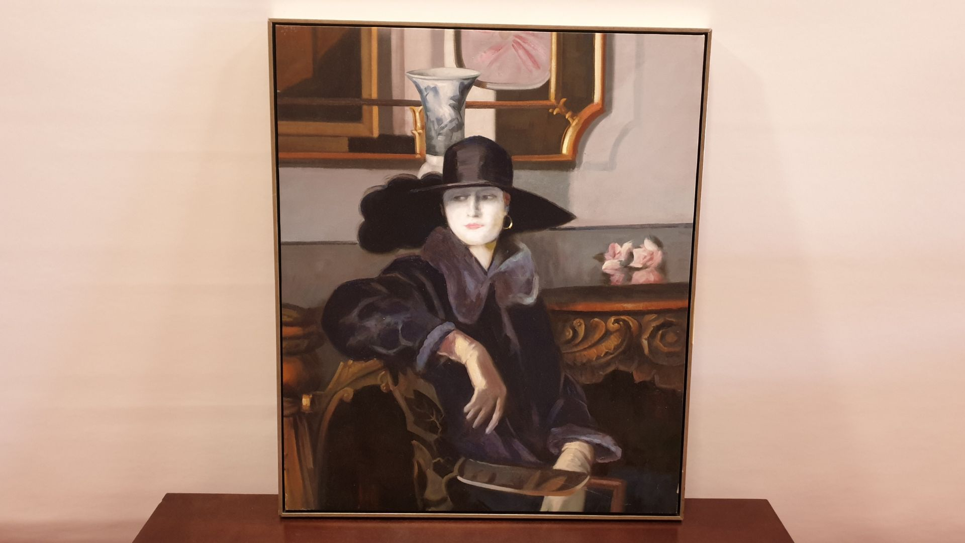Lot 207 - FRAMED CANVAS PAINTED PICTURE OF ELEGANT LADY SIZE 840 X 1000 X 40 MM RRP £595