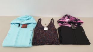 MIXED LOT CONTAINING 40 X PIECES OF CLOTHING IN VARIOUS STYLES AND SIZES IE. MAGIFIT SPORTSWEAR,