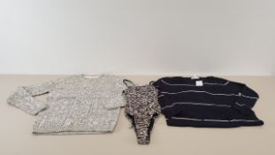 MIXED LOT CONTAINING 40 X PIECES OF CLOTHING IN VARIOUS STYLES AND SIZES IE TOPSHOP ZEBRA PRINT
