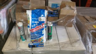 (LOT FOR THURSDAY 28TH MAY AUCTION 12 NOON) TRAVIS PERKINS TRADE LOT ON A PALLET - IE. 108 X MAPEI