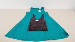 MIXED LOT CONTAINING 40 X PIECES OF CLOTHING IN VARIOUS STYLES AND SIZES IE UO FIREWORK CAMIS, MANGO