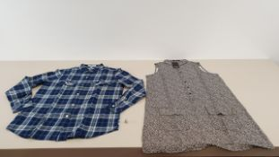 MIXED LOT CONTAINING 40 X MANGO WOMENS LEOPARD PRINT SHIRTS AND BLUE CHEQUERED SHIRTS IN VARIOUS