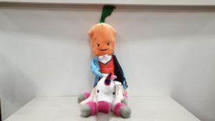 MISC LOT OF 8 X GIANT PLUSH TOYS IE. 4 X UNICORN, 4 X KEVIN THE CARROT