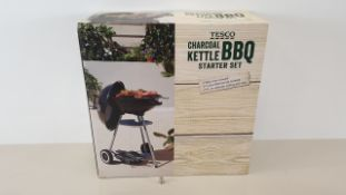 8 X TESCO CHARCOAL KETTLE BARBEQUE STARTER SETS - INC. 41 CM DIA BBQ, BBQ COVER, 3 PC TOOL SET