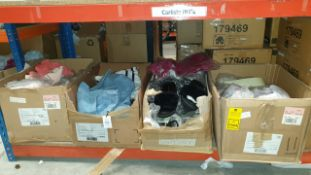 4 X BOXES OF CLOTHES AND SHOES IN VARIOUS STYLES AND SIZES IE MORGAN NUDE HEELS, TOPSHOP FLUFFY