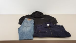 40 X PIECES OF ONLY AND SONS CLOTHING IN VARIOUS STYLES AND SIZES IE BLUE 4 POCKET JACKETS, RIPPED