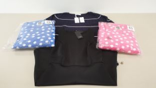 MIXED LOT CONTAINING 40 X PIECES OF CLOTHING IN VARIOUS STYLES AND SIZES IE ANNE AK KLEIN PYJAMAS,