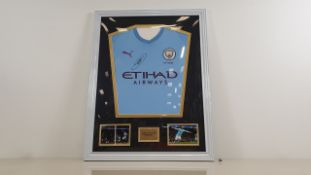 RAHEEM STIRLING PERSONALLY SIGNED MANCHESTER CITY SHIRT - GOOD CONDITION WITH CERTIFICATE OF