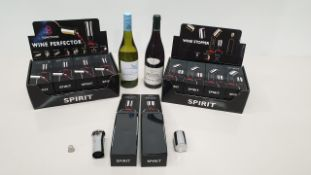 32 X NORDITION SILVER COLOURED SPIRIT WINE ACCESSORIES IN 4 DISPLAY CARTONS - 2 OF EACH - (16 X WINE