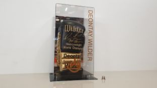DEONTAY WILDER PERSONALLY SIGNED GLOVE IN DISPLAY CASE - GOOD CONDITION WITH CERTIFICATE OF