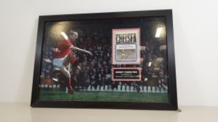 BOBBY CHARLTON PERSONALLY SIGNED PICTURE WITH AN ORIGINAL PROGRAMME OVERWRITTEN 'MY LAST KICK OF THE