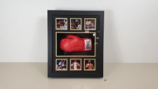 ANTHONY JOSHUA PERSONALLY SIGNED GLOVE IN LIGHT UP DISPLAY CASE AND PHOTOS - GOOD CONDITION WITH