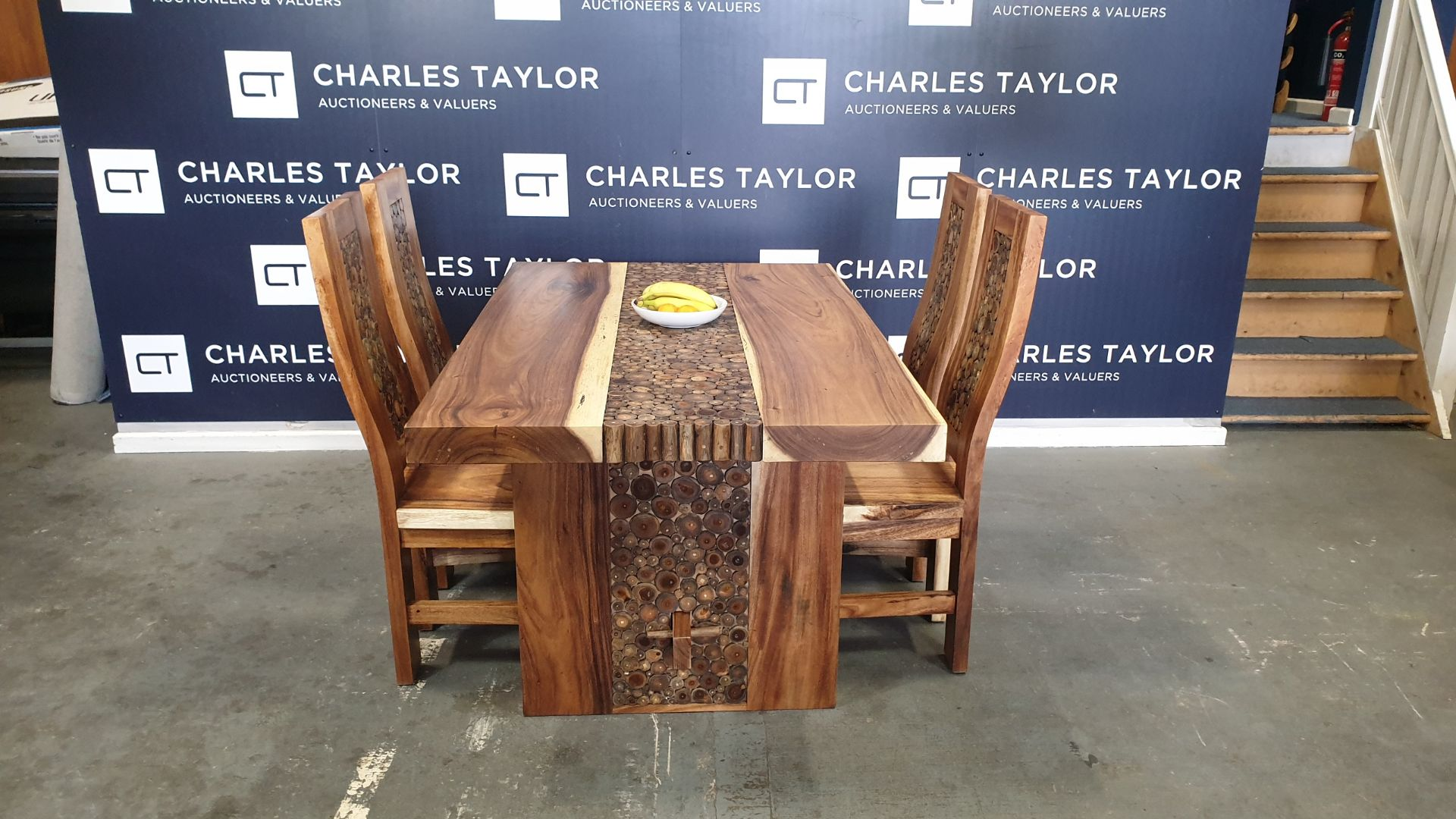 Lot 2 - BRAND NEW SOLID SUAR WOODEN 5 PIECE COIN TABLE SET 160 X 95 X 76 RRP £1250