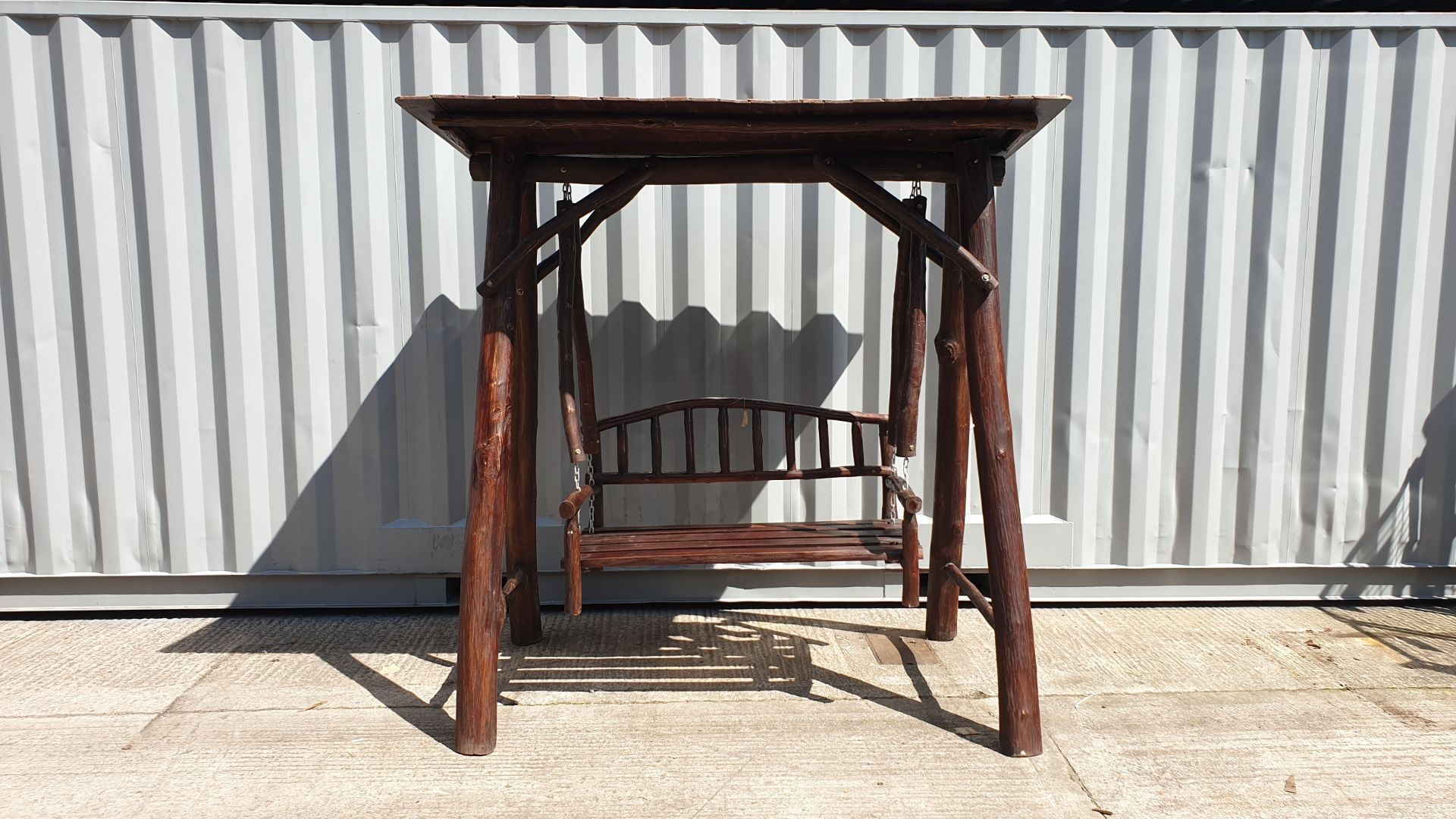 Lot 19 - BRAND NEW SOLID TEAK ROOT WOODEN 2 SEATER SWING 250 X 120 X 200cm RRP £875