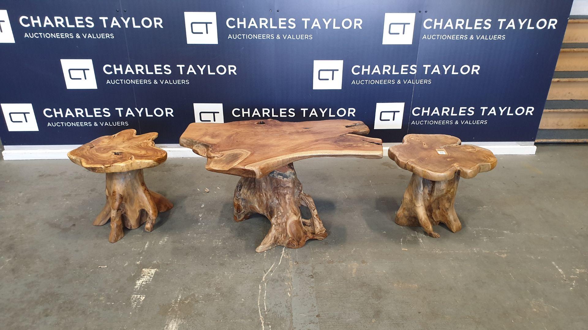 Lot 51 - BRAND NEW SOLID TEAK ROOT WOODEN MUSHROOM TABLE AND 2 X MUSHROOM STOOLS 55 X 65 X 100cm RRP £695